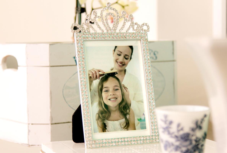 Porta retrato infantil princesa strass luxo 10x15cm