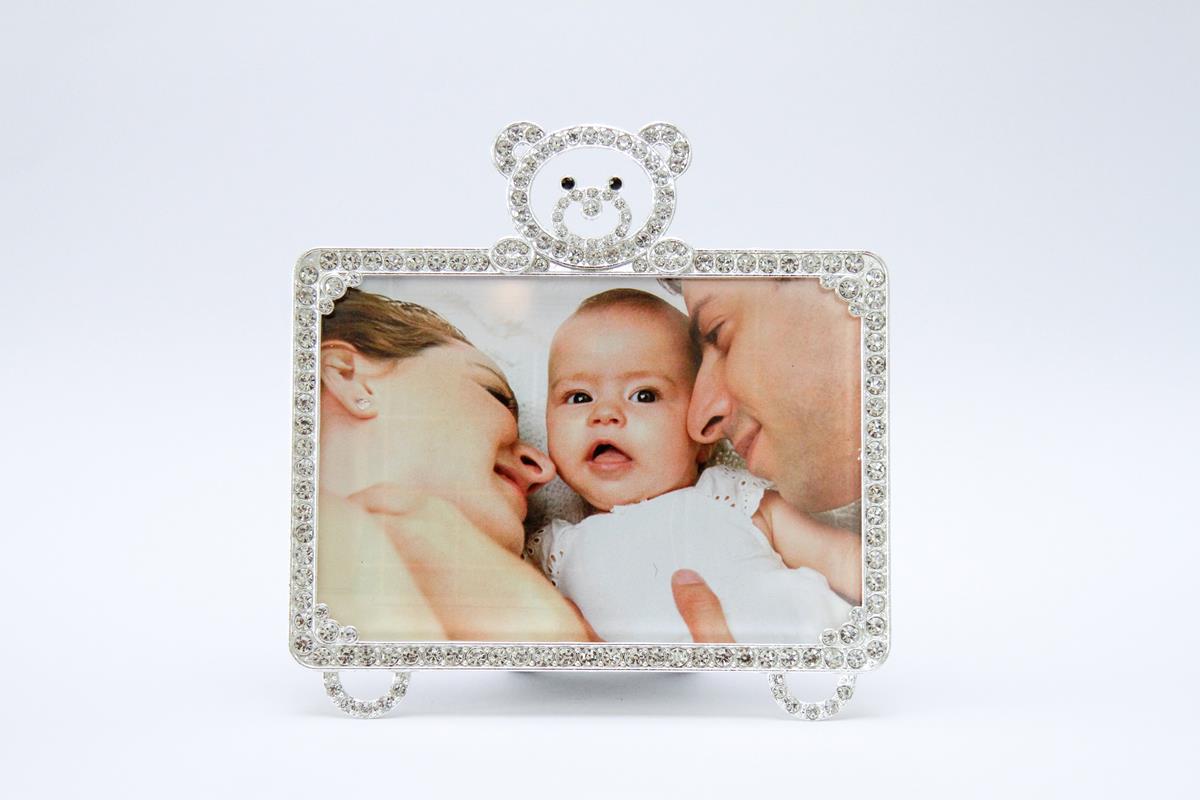 Porta retrato ursinho strass luxo 10x15cm