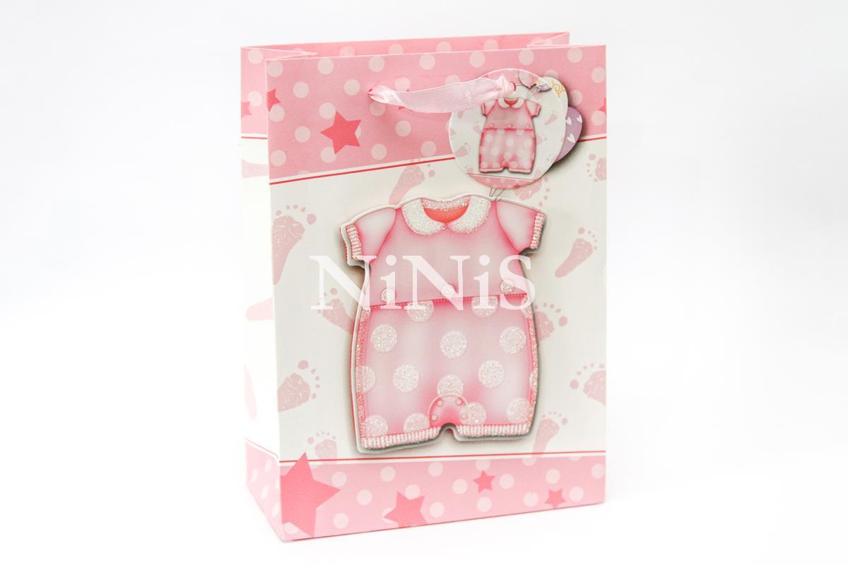 KIT com 25 sacolinhas 3D cor de rosa com relevo de roupinha de bebê 24x17,5x8 cm