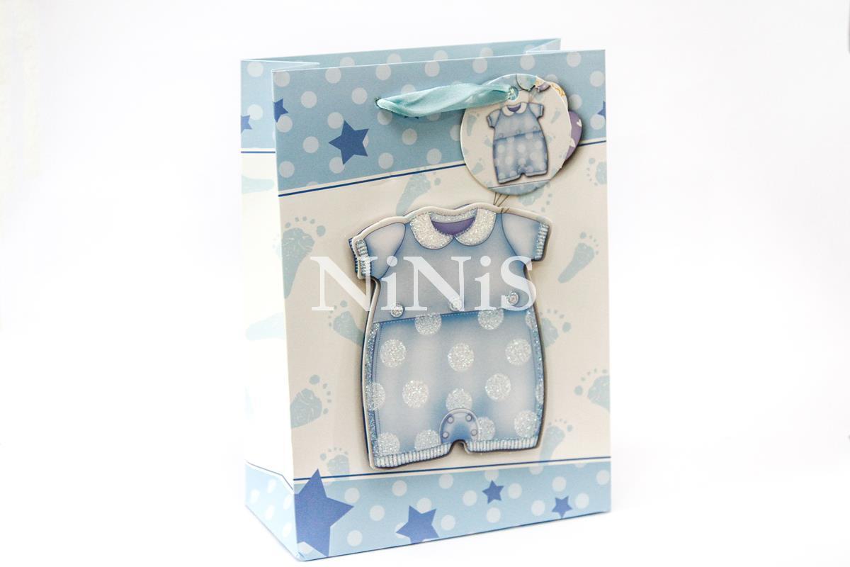 KIT com 25 sacolinhas 3D na cor azul maternidade com relevo de roupinha de bebê 24x17,5x8 cm