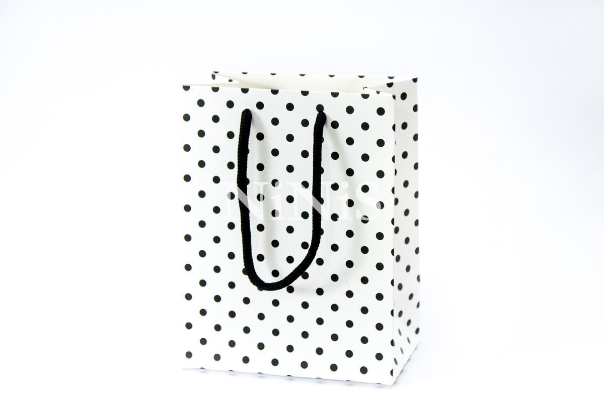 Sacolinha Branca com poá preto e alça preta  - 18x14x8 cm