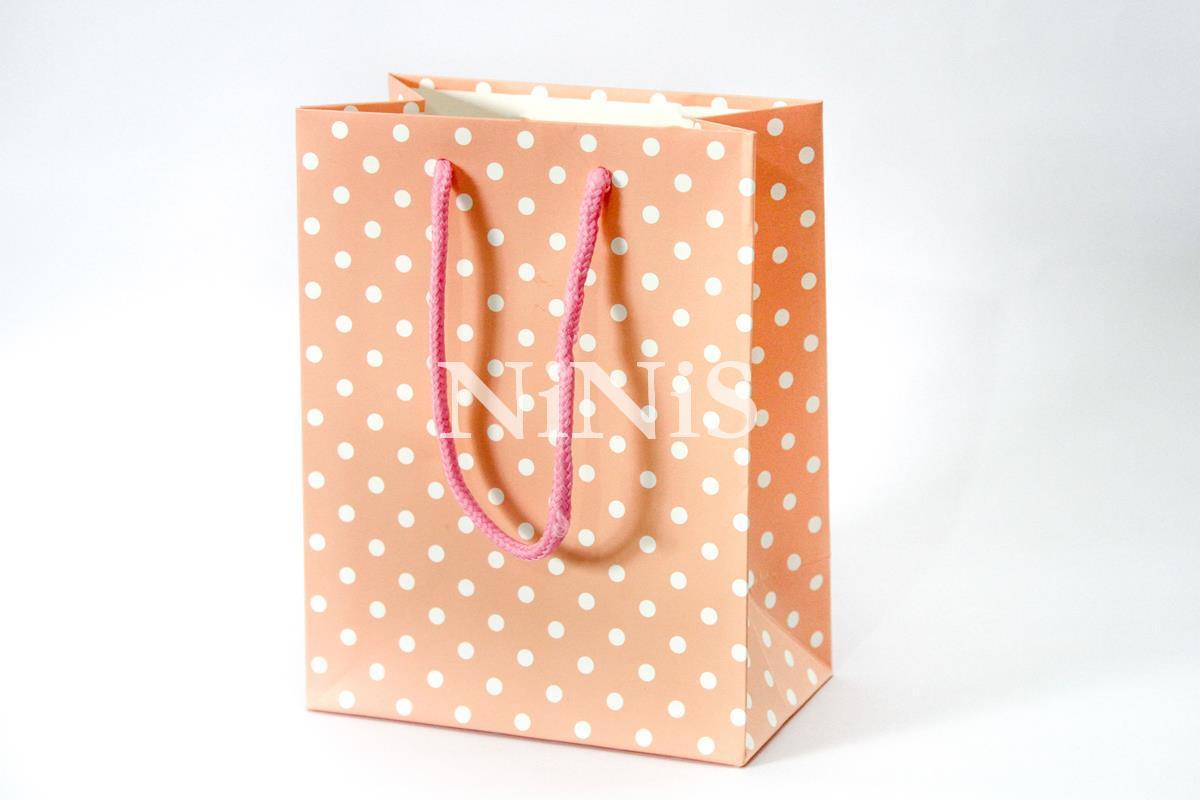 Sacolinha Rosa suave com poá branco e alça rosa pink 18x14x8 cm