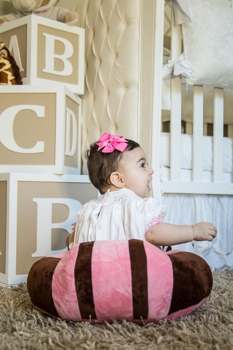 Sofá almofada senta bebê poltrona pelúcia rosa
