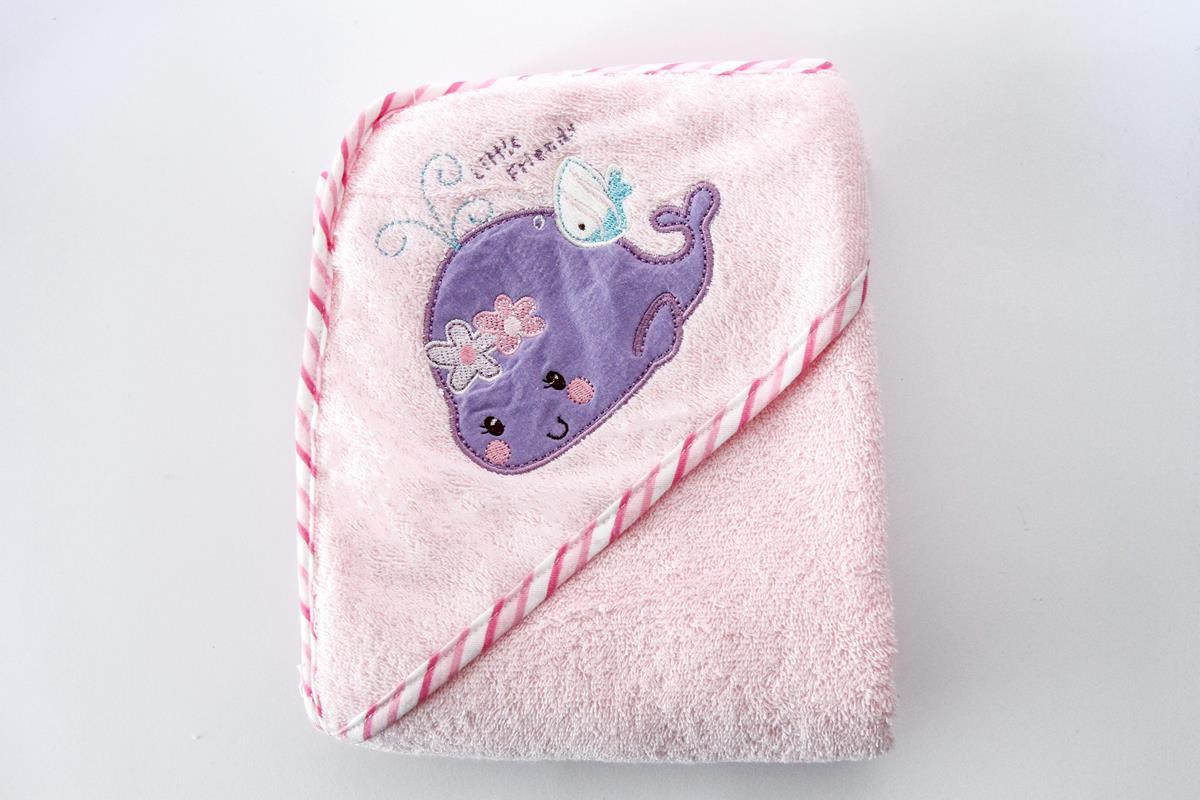 Toalha infantil com capuz bordado baleia - rosa