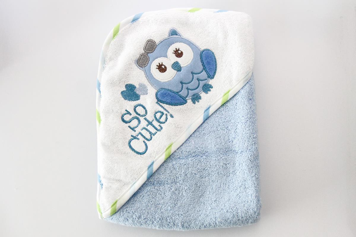 Toalha infantil com capuz bordado Corujinha  azul