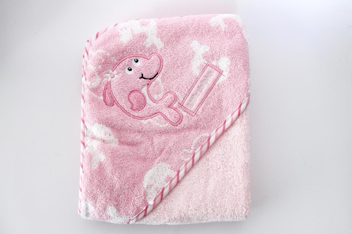 Toalha infantil com capuz bordado Golfinho - Rosa