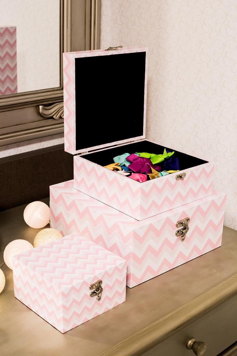Trio de caixas organizadoras decorativas quarto de menina chevron rosa bebê