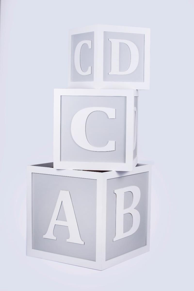 Trio de Cubos organizadores decorativos caixas de brinquedos ABCD Cinza baby