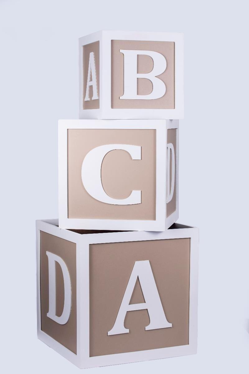 Trio de Cubos organizadores decorativos caixas de brinquedos ABCD Fendi Baby