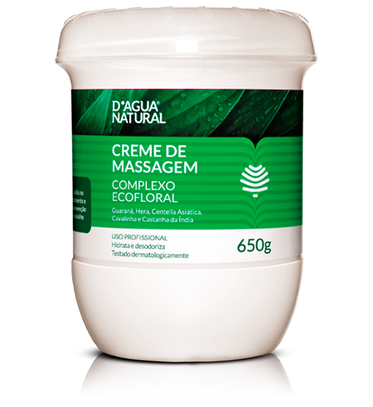 D'água Natural - Creme de Massagem Complexo Ecofloral - 5 Ativos - 650g