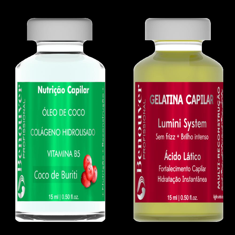 ( Ampola Nutrição Capilar + Ampola Gelatina Capilar ) Benouver Profissional 15ml