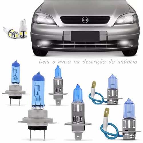 Kit Lampadas Astra 98 99 2000 2001 2002 Super Brancas Farol Baixo H7 Alto H1 Milha H3 - Techone 8500k 12v 55w Inmetro