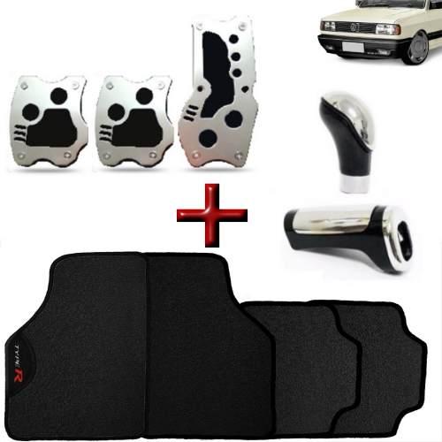 Kit Tuning Gol Quadrado Tapete Type R Pedaleiras + Manoplas