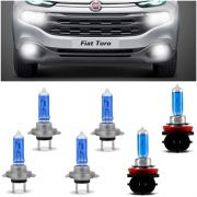 Kit Lampadas Fiat Toro 2016 2017 2018 2019 Super Brancas Farol Baixo H7 Alto H7 55w Milha H8 35w - Techone 8500k Inmetro