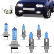 Kit Lampadas Fiesta 96 97 98 99 Courier Super Brancas Farol H7 H1 Milha H1 - Techone 8500k 12v 55w Inmetro