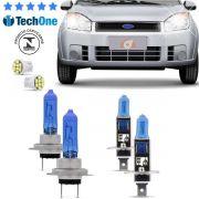 Kit Lampadas Fiesta Hatch Sedan 2007 2008 2009 2010 2011 Super Brancas Farol Duplo H7 H1 - Techone 8500k 12v 55w Inmetro