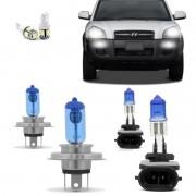 Kit Lampadas Hyundai Tucson 2003 2004 2005 2006 2007 2008 2009 2010 2011 2012 2013 Super Brancas Para Farol Foco Simples H4 e Milha H27 8500k