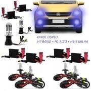 Kit Xenon Gol Rallye Saveiro Cross G5 G6 Crossfox Farol Duplo + Milha 8000k