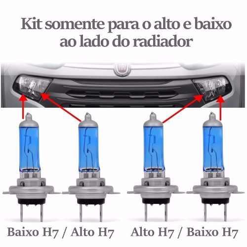 Kit Lampadas Fiat Toro Super Brancas Farol Baixo H7 Alto H7