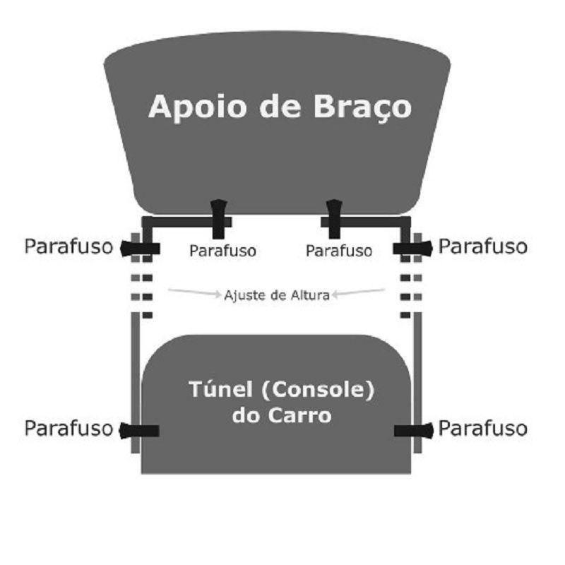 Console Apoio De Braço Universal Automotivo Com Porta Copos e Objetos - Carbono