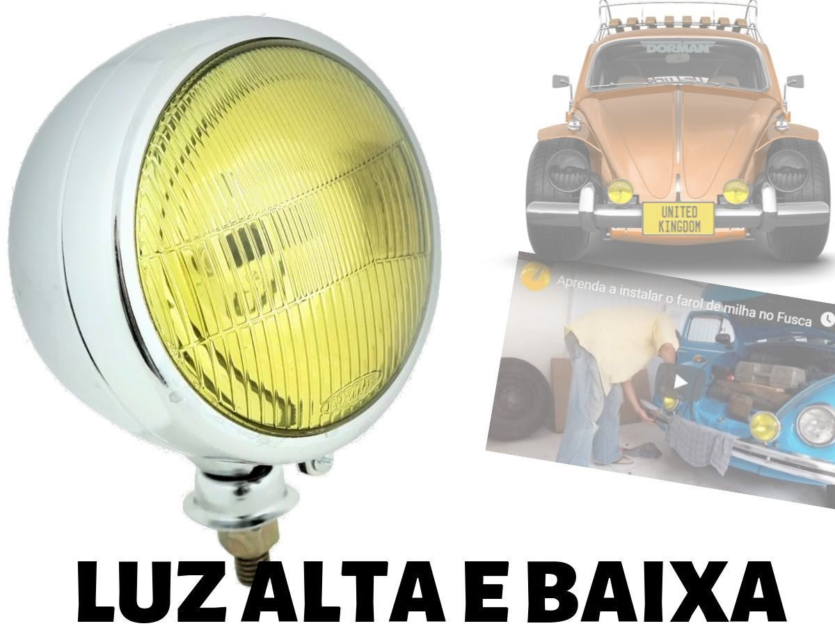Farol de Milha Neblina Auxiliar Off Road H5 Acende Alto Baixo Fusca Jeep Buggy Pick Up - Amarelo ou Cristal - Unidade