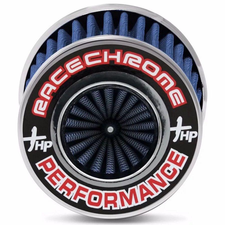 Filtro De Ar Esportivo Duplo Fluxo Azul - Médio Race Chrome Performance Encaixe 62mm e 70mm - RC085AZ