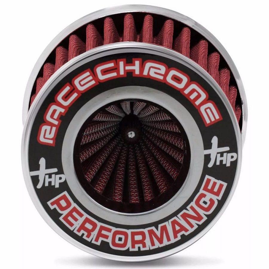 Filtro De Ar Esportivo Duplo Fluxo Vermelho Pequeno - Race Chrome Duplo Encaixe 62mm e 70mm - RC084
