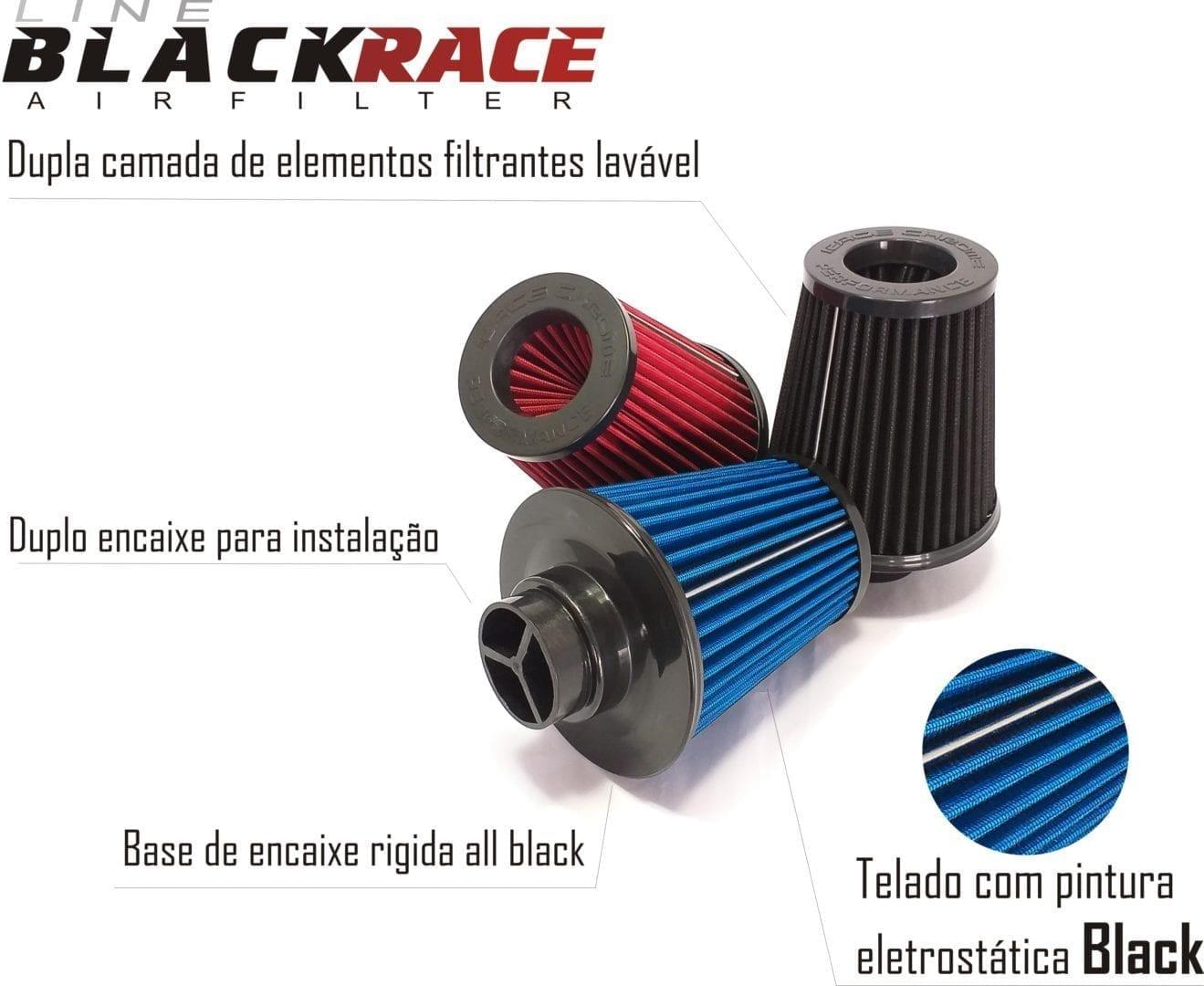 Filtro De Ar Duplo Fluxo Esportivo Black Race Chrome