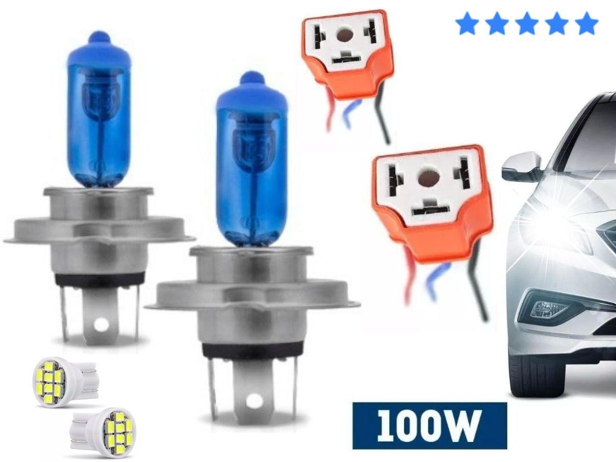 Kit 2 Lampadas Farol H4 100w Super Branca 8500k + Soquete Porcelana Cerâmica + 2 Led T10 SMD 5 Leds Lanterna