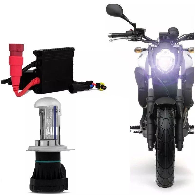 Kit Bi Xenon Moto H4-3 6000k 8000k Reator Slim Digital H4 Luz Lampada