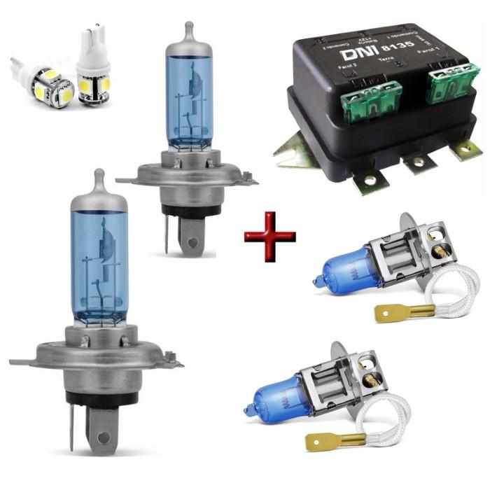 Kit Lampadas 100w Super Brancas Luz Forte Farol H4 + Milha H3 + Rele Duplo + Led T10 Lanterna - 8500k 12v