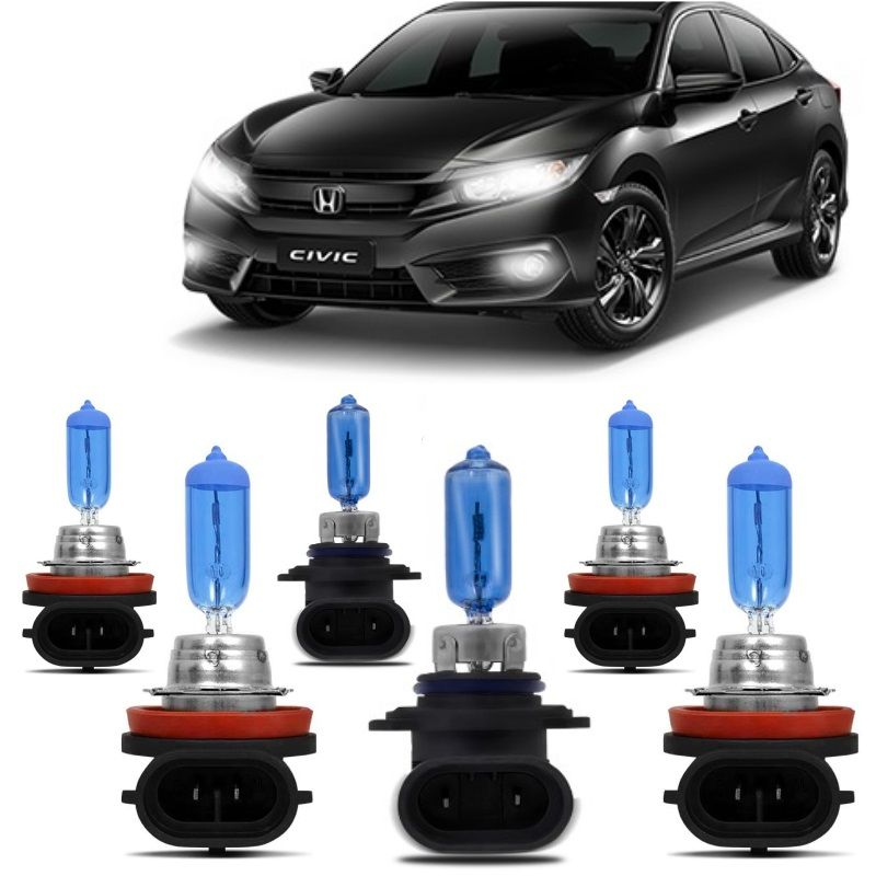 Kit Lampadas Civic 10 2017 2018 2019 Super Brancas H11 HB3 H8