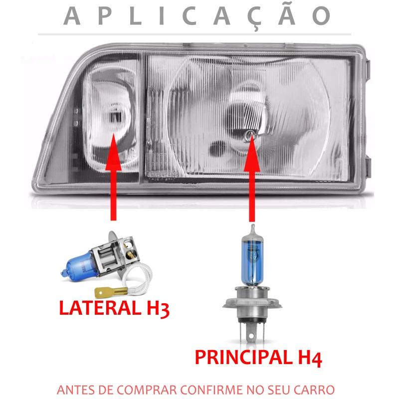Kit Lampadas D20 93 94 95 96 97 Super Brancas Farol Duplo H4 H3 - Techone 8500k 12v 55w Inmetro