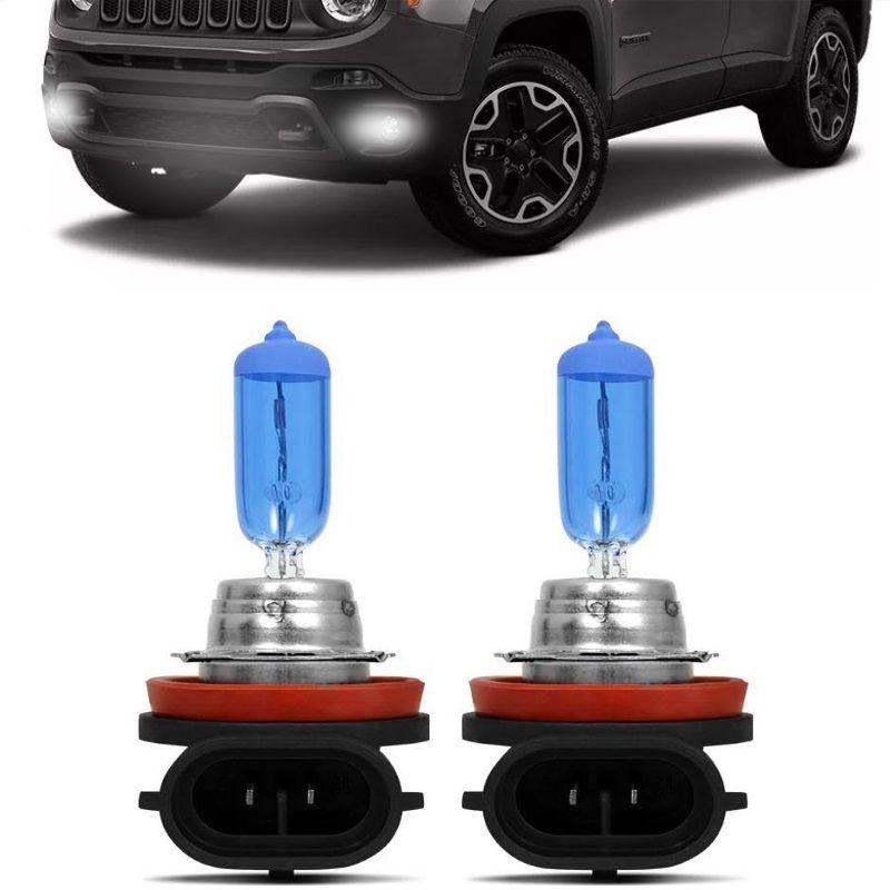 Kit Lampadas Farol Milha Auxiliar Neblina Jeep Renegade 2015 2016 2017 2018 2019 Super Brancas Techone 8500k 12v Inmetro