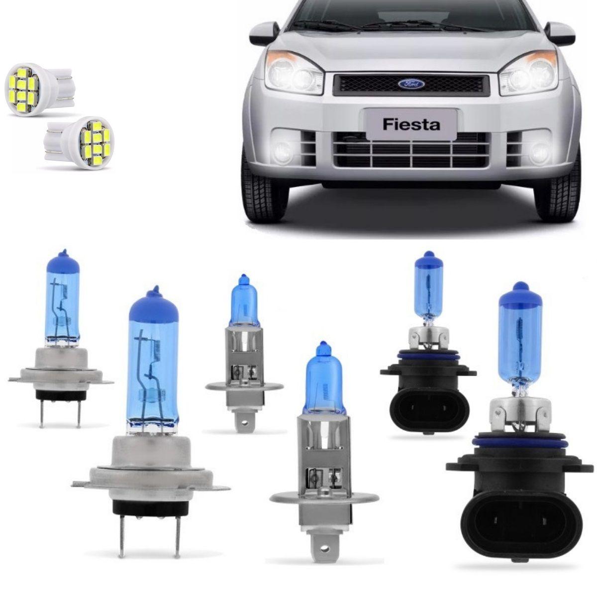 Kit Lampadas Fiesta Hatch Sedan 2007 2008 2009 2010 Super Brancas Farol H7 H1 Milha HB4 9006 - Techone 8500k 55w Inmetro