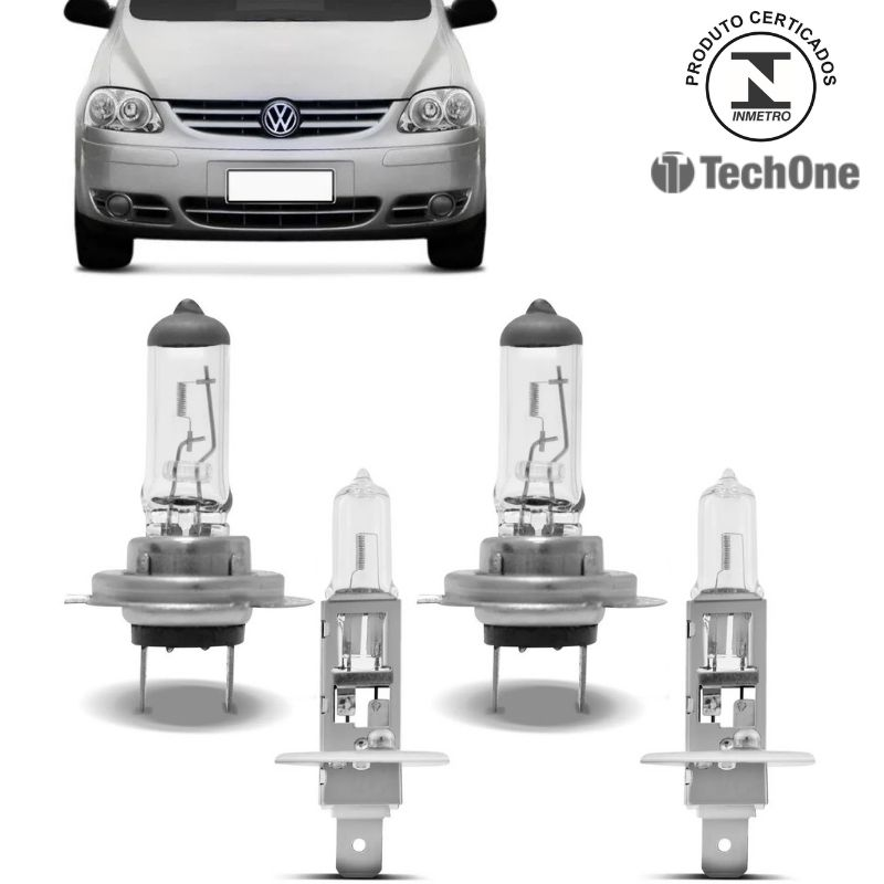 Kit Lampadas Fox 2003 04 a 08 2009 Techone Farol Duplo H7 H1