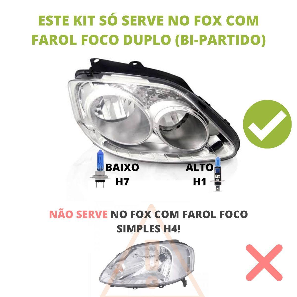 Kit Lampadas Fox 2003 2004 2005 2006 2007 2008 2009 Super Brancas Farol Duplo H7 H1 Milha H3 - Techone 8500k 55w Inmetro