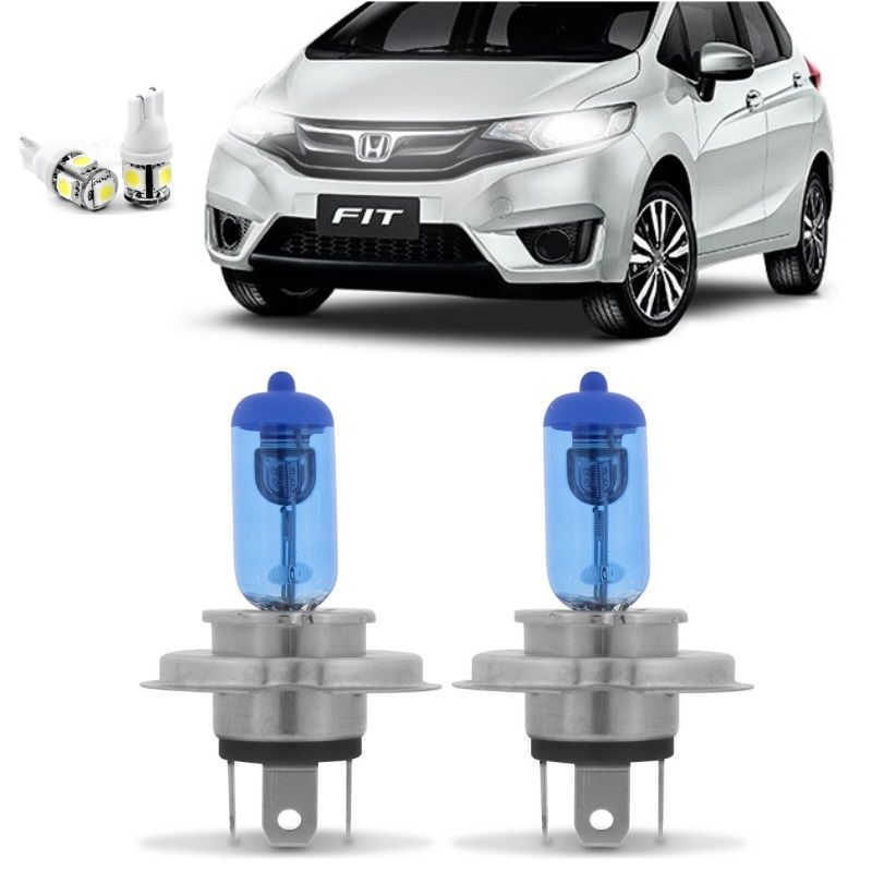 Kit Lampadas Honda Fit 2015 2016 2017 2018 Super Brancas Farol H4