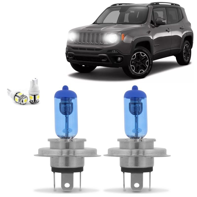 Kit Lampadas Jeep Renegade 15 2016 2017 2018 Super Brancas Farol H4