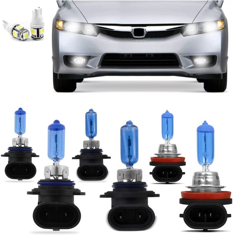 Kit Lampadas New Civic 2006 2007 2008 2009 2010 Super Brancas Farol HB4 9006 HB3 9005 Milha H11 - Techone 8500k Inmetro