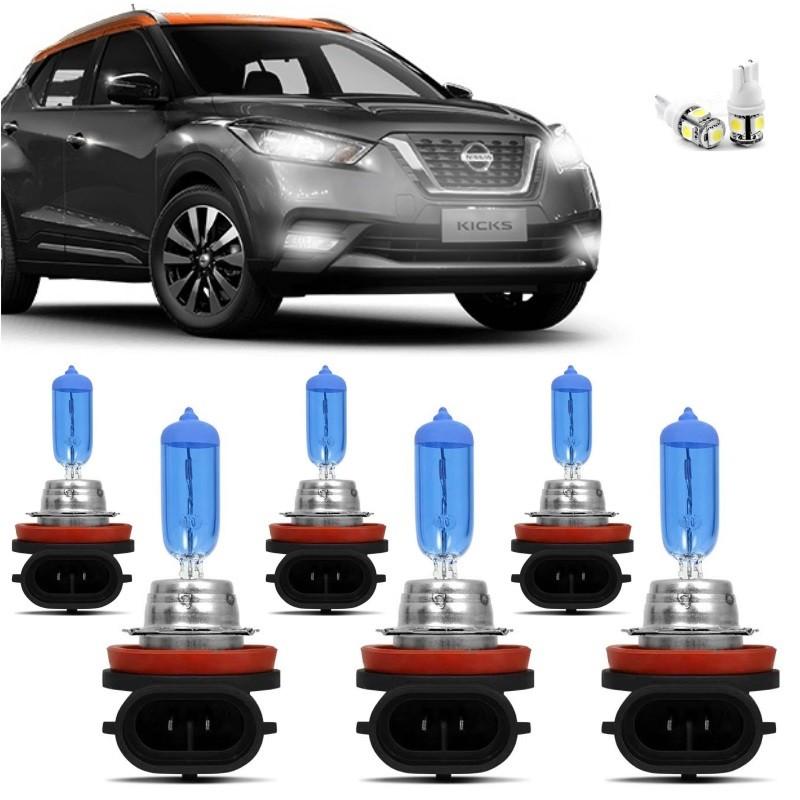 Kit Lampadas Nissan Kicks 2016 2017 2018 2019 Super Brancas Farol H11 H9 55w Milha H8 35w - Techone 8500k 12v Inmetro