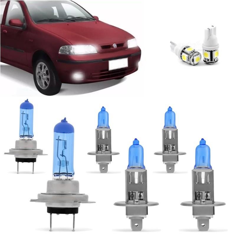 Kit Lampadas Palio Siena Strada G2 2000 2001 2002 2003 2004 Super Brancas Farol H7 H1 Milha H1 Techone 8500k 55w Inmetro