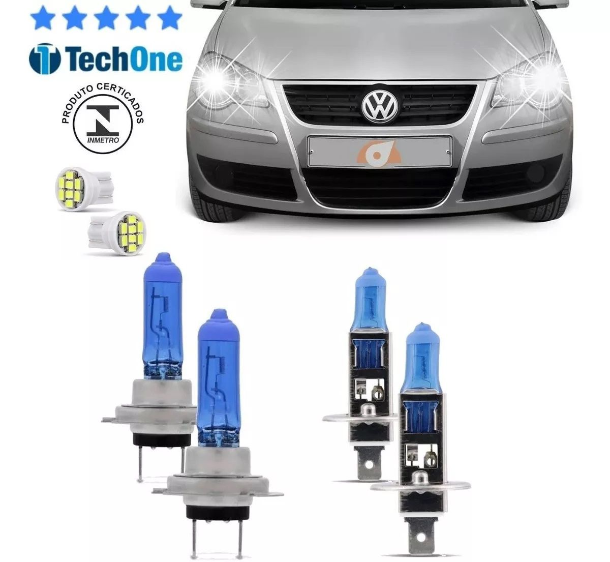 Kit Lampadas Polo Hatch Sedan 2002 2003 2004 2005 2006 Super Brancas Farol H7 H1 - Techone 8500k 12v 55w Inmetro