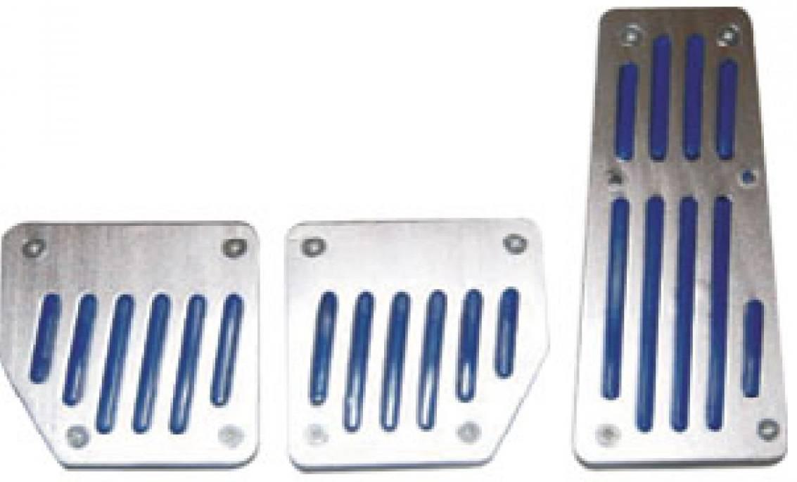 Kit Pedaleira Esportiva Carro Universal Azul Aluminio