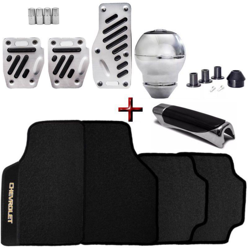 Kit Tuning Chrome Tapete PVC Chevrolet + Pedaleiras Alumínio + Bola Manopla Cambio + Capa Freio Mão + Pino Valvula Pneu