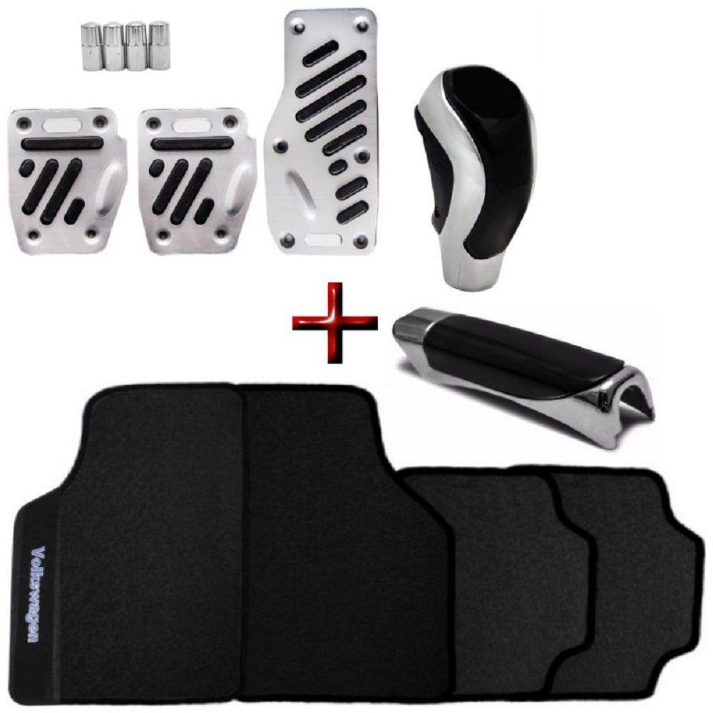 Kit Tuning Chrome Tapete PVC Volkswagen + Pedaleiras Alumínio + Bola Manopla Cambio + Capa Freio Mão + Pino Valvula Pneu