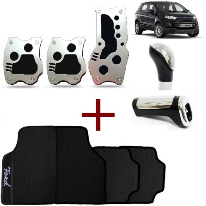 Kit Tuning Ford Ecosport Tapete Pedaleiras Manoplas Freio e Bola de Câmbio