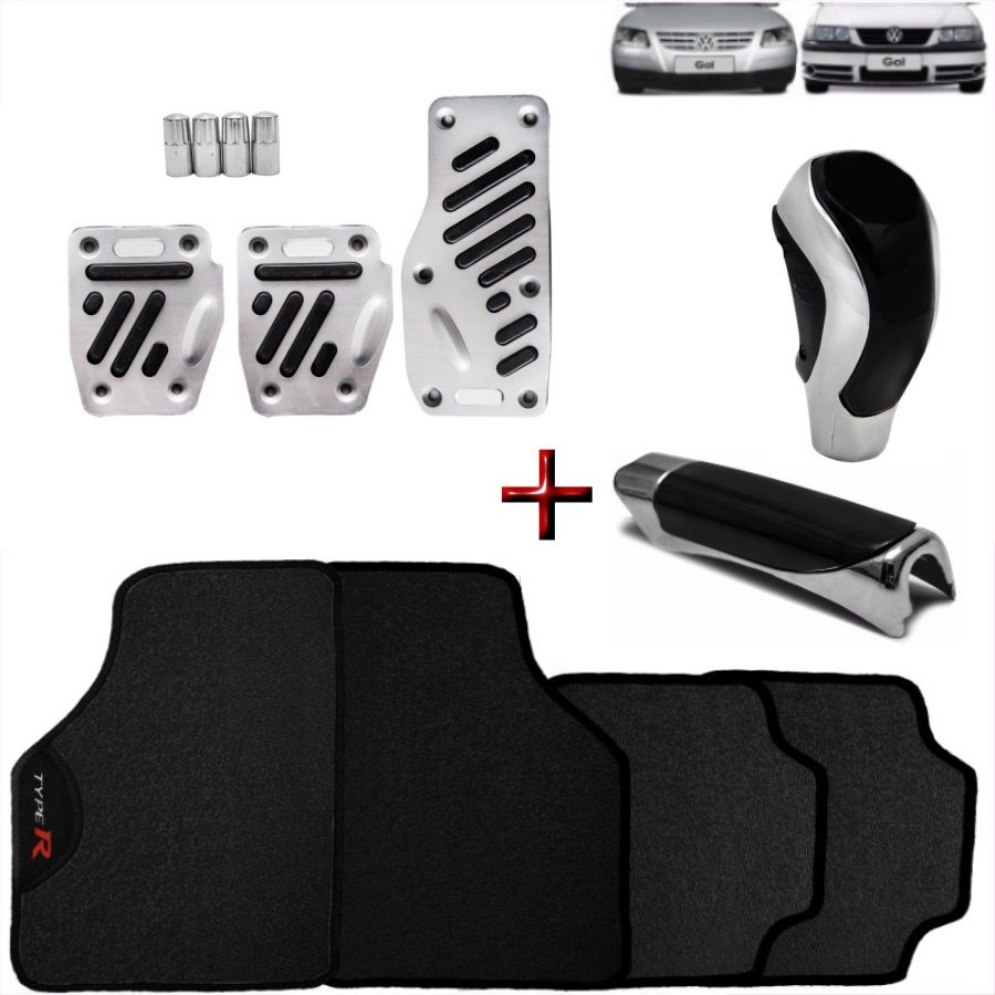 Kit Tuning Gol Saveiro G3 G4 Tapete Type R Pedaleira Manopla