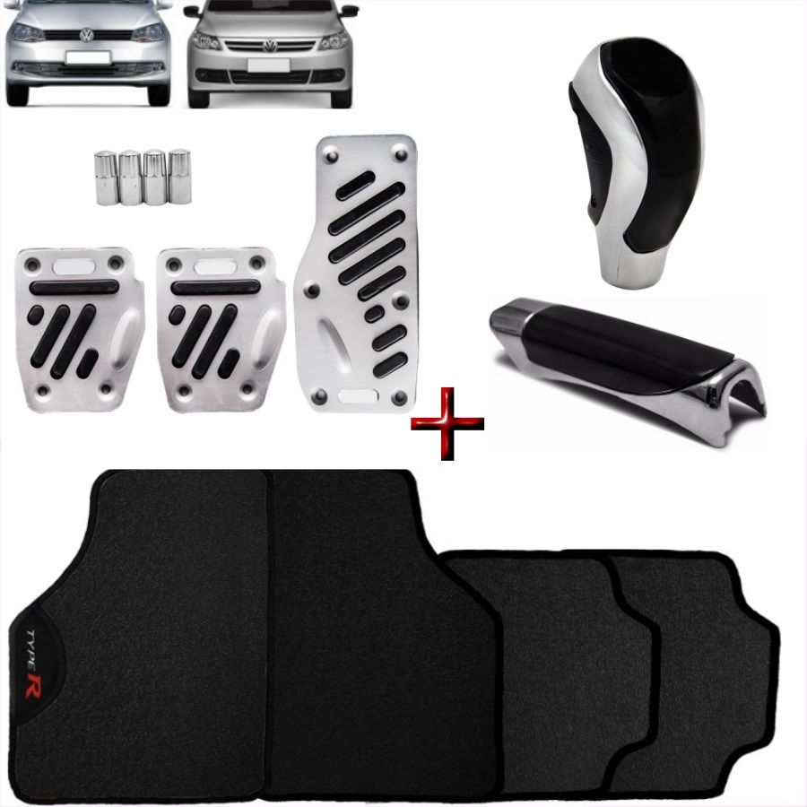 Kit Tuning Gol Saveiro G5 G6 Tapete Type R Pedaleira Manopla
