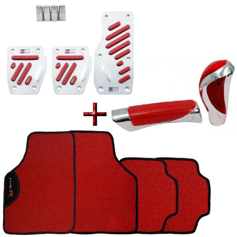 Kit Tuning Tapete Type R Vermelho + Pedaleiras Alumínio + Bola Manopla Cambio + Capa Freio Mão + Pino Valvula Pneu